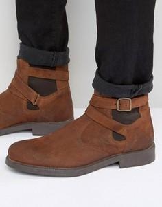 Светло-коричневые замшевые ботинки челси с подкладкой из искусственного меха ASOS - Рыжий