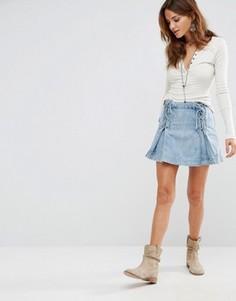 Джинсовая юбка со шнуровкой Free People - Синий