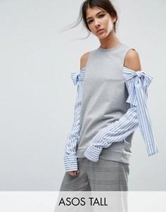 Свитшот с открытыми плечами и рукавами в стиле рубашки ASOS TALL - Серый