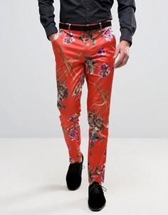 Строгие облегающие брюки с цветочным принтом ASOS - Красный