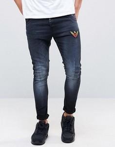 Эластичные джинсы скинни с нашивками Juice - Черный