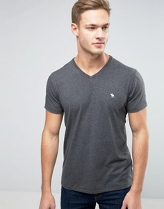 Серая футболка узкого кроя с V-образным вырезом Abercrombie & Fitch - Черный