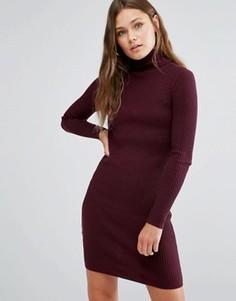 Платье мини в рубчик с отворачивающимся воротником New Look - Красный