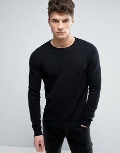 Solid Textured Knit Jumper In Black - Черный