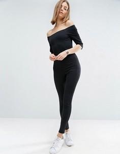 Черный джинсовый комбинезон с открытыми плечами ASOS - Черный