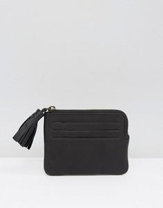 Кожаный кошелек для монет с кисточкой ASOS - Черный