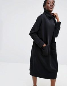 Трикотажное платье-джемпер с воротником поло Monki - Черный