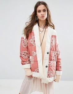 Стеганая куртка из поплина с принтом Free People - Красный