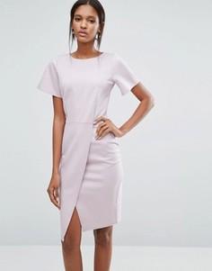 Платье с короткими рукавами и разрезом спереди Closet - Фиолетовый