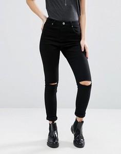 Зауженные джинсы с рваными коленками Brave Soul - Черный