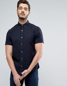 Темно-синяя оксфордская рубашка слим с короткими рукавами Original Penguin - Темно-синий