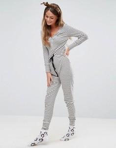 Трикотажная пижама-комбинезон в полоску New Look - Серый