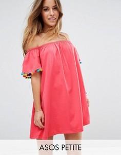 Свободный сарафан с яркими помпонами ASOS PETITE - Розовый