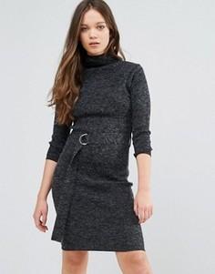 Платье-джемпер с отворачивающимся воротником и D-образной пряжкой Brave Soul - Черный