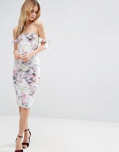 Платье миди с открытыми плечами, бантами и цветочным принтом ASOS - Мульти