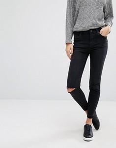 Джинсы скинни с рваными коленями и необработанным низом New Look - Черный