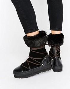 Зимние сапоги на шнуровке SixtySeven - Черный