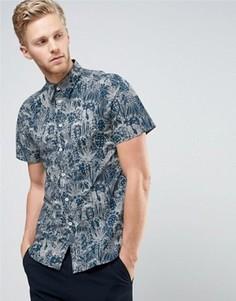 Темно-синяя рубашка с короткими рукавами и цветочным принтом PS by Paul Smith - Темно-синий