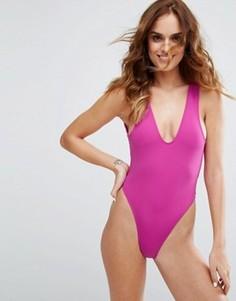 Розовый слитный купальник с высоким вырезом по бедру Minimale Animale - Розовый