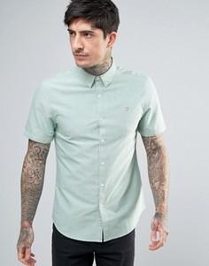 Зеленая приталенная оксфордская рубашка на пуговицах с короткими рукавами Farah Brewer - Зеленый