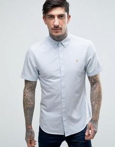 Голубая оксфордская рубашка слим с короткими рукавами Farah Brewer - Синий
