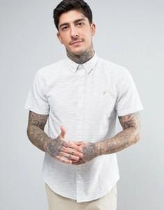 Светло-бежевая приталенная рубашка на пуговицах с короткими рукавами Farah Thorpley - Белый