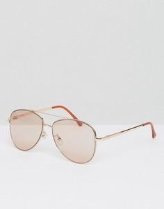 Солнцезащитные очки-авиаторы со светло-розовыми стеклами ASOS - Золотой