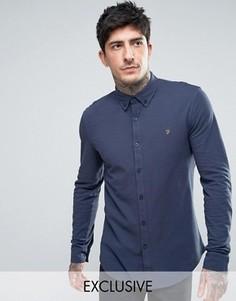 Темно-синяя трикотажная рубашка из пике Farah - Темно-синий