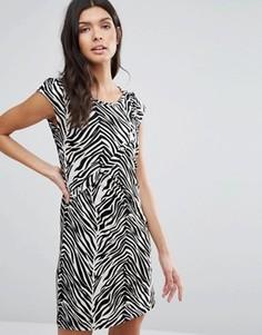 Цельнокройное платье со звериным принтом Pussycat London - Черный