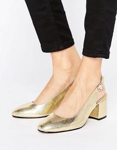 Туфли на каблуке с открытой пяткой London Rebel - Золотой
