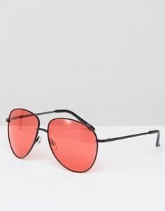 Солнцезащитные очки-авиаторы в черной матовой металлической оправе с красными стеклами ASOS - Черный