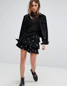 Мини-юбка в горошек с оборками Motel - Черный