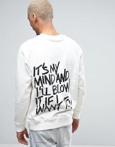 Heros Heroine Sweatshirt In White With Graffiti Back Print - Stone