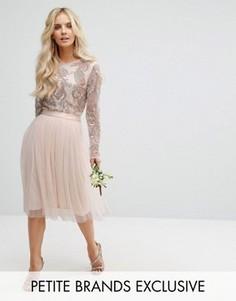 Пышная юбка миди из тюля с атласным поясом и бантом Maya Petite - Розовый