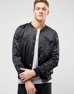 Черная атласная куртка-пилот с вышивкой New Look - Черный