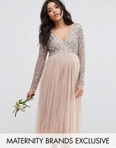Платье миди для беременных с длинными рукавами и тюлевой юбкой Maya Maternity - Серый