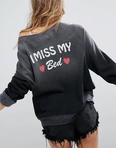 Свитшот с принтом I Miss My Bed Wildfox - Черный