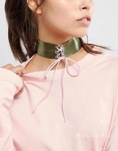 Ожерелье-чокер цвета хаки со шнуровкой ASOS - Мульти