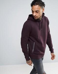 ASOS Hoodie With Biker Detail & Zip Pockets - Фиолетовый