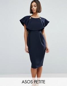 Двухслойное платье-миди с вырезами и рукавами-кимоно ASOS PETITE - Темно-синий