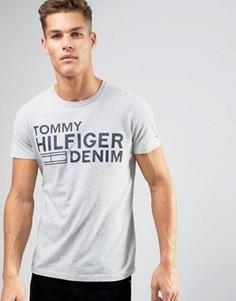 Серая меланжевая футболка с крупным логотипом Hilfiger Denim - Серый