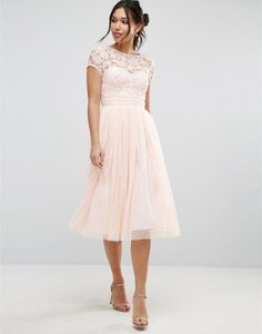 Кружевное платье миди с юбкой из тюля и короткими рукавами Little Mistress - Розовый