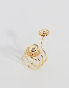 Кольцо-спираль с цветком ASOS - Золотой