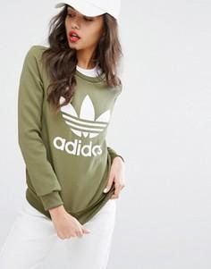 Свитшот с логотипом с тремя полосками Adidas Originals - Зеленый