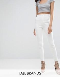 Укороченные эластичные джинсы скинни с завышенной талией Missguided Tall Vice - Белый