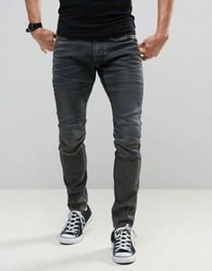 Выбеленные темно-серые узкие джинсы G-Star 5620 3D - Серый