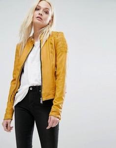 Кожаная байкерская куртка без воротника с отделкой в рубчик на рукавах Goosecraft - Желтый
