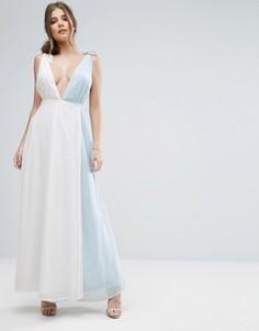 Платье макси в стиле колор блок с запахом Boohoo - Серый