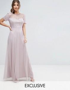 Платье макси с вырезом в форме сердца и бисером Boohoo - Фиолетовый