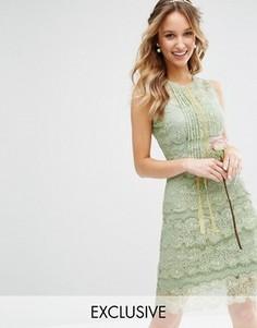 Многоярусное платье миди с отделкой Bodyfrock - Зеленый